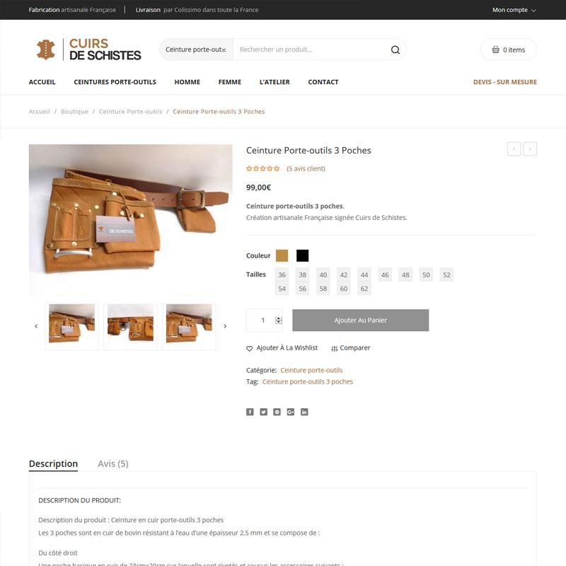 Création site e-commerce Cuirs de Schistes